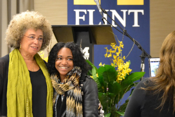 At each event, Angela Davis took time to meet with her audience members.