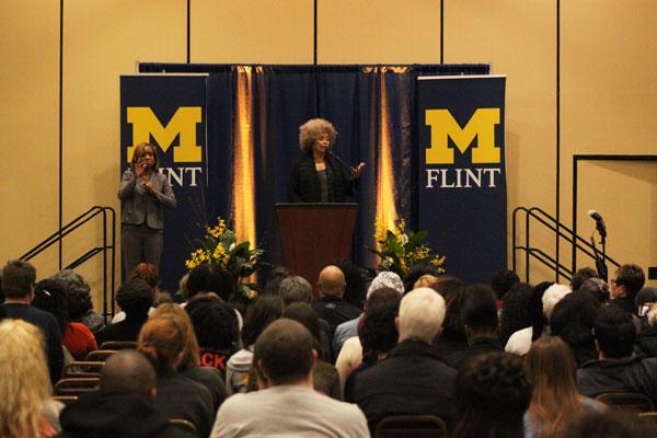 Angela Y. Davis' public lecture drew a large crowd to UM-Flint's Riverfront Center.