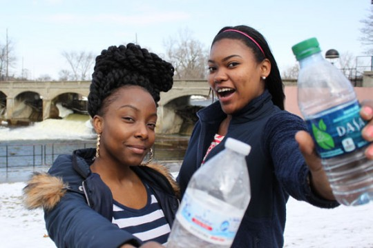 Brittini Ward and Rhonda Jones are collecting plastic water bottles and caps for creative projects about the Flint Water Crisis.