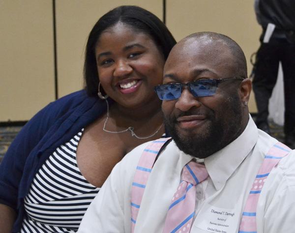 Diamond Darrough and guest at the 2016 UM-Flint Veterans' Celebration Dinner