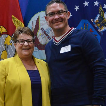 Chancellor Susan E. Borrego with student speaker Ryan Clark at the 2016 Veterans' Graduation Dinner.</body></html>