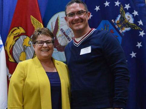 Chancellor Susan E. Borrego with student speaker Ryan Clark at the 2016 Veterans' Graduation Dinner. Photo by Ashley Hawthorne.