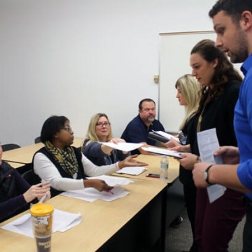 Education Students Collaborate in Mock Interviews at UM-Flint
