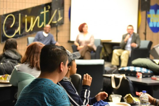 UM-Flint Political Science, Africana Studies, and MPA alumni speak to students on campus