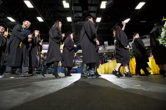 UM-Flint graduates at commencement ceremony.