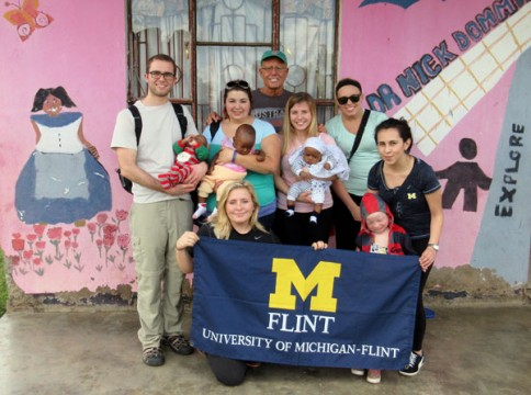 UM-Flint public health students at an orphanage in Tanzania.