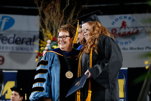 Chancellor Susan E. Borrego and student speaker Saydee Robinson