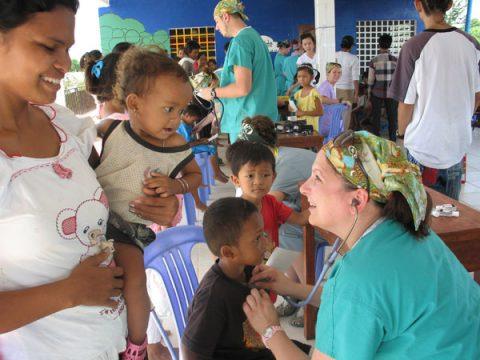 UM-Flint nursing students at health clinic in Cambodia.
