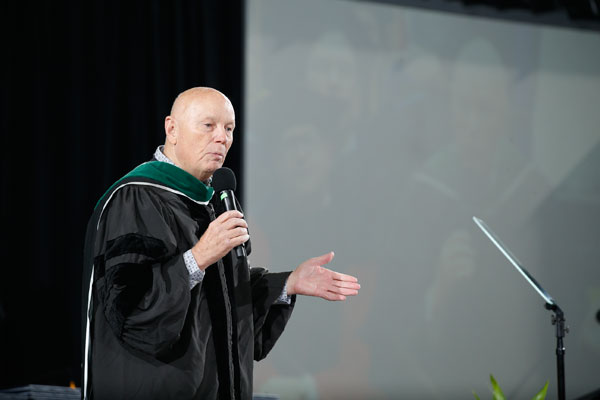 Astronaut Story Musgrave was the featured commencement speaker at both ceremonies.