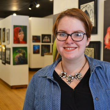 Janice McCoy, UM-Flint art student, at the GFAC Gallery in Flint
