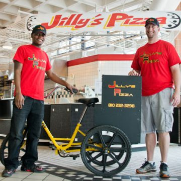 Look for the yellow Jilly's Pizza delivery bike downtown.
