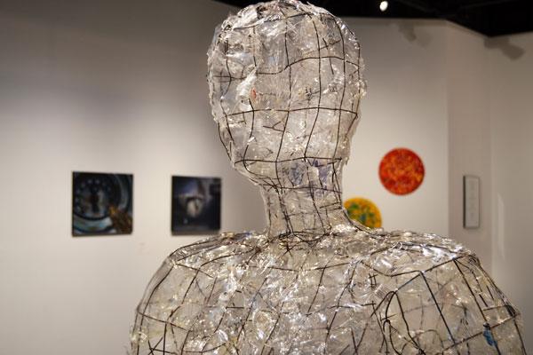 "Sculpture that is part of the ""Treading Water"" art exhibit at UM-Flint"