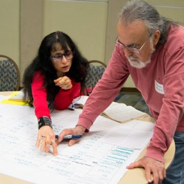 UM-Flint faculty members map out how to further incorporate engaged learning into curriculum.