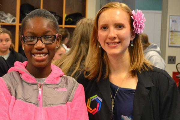 Samantha Grathoff with one of her Curiosity Academy students.