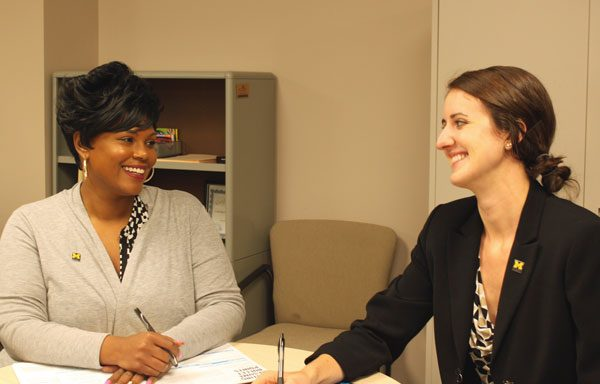 New UM-Flint Career Center advisors Myesha Cannon and Emily Bank