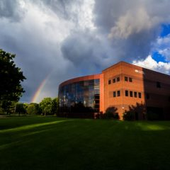 A rainbow over the UM-Flint campus.
