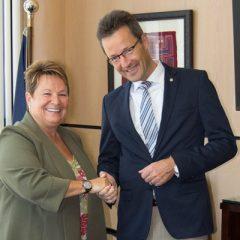 UM-Flint Chancellor Susan E. Borrego and University of Wuppertal Rector Lambert T. Koch
