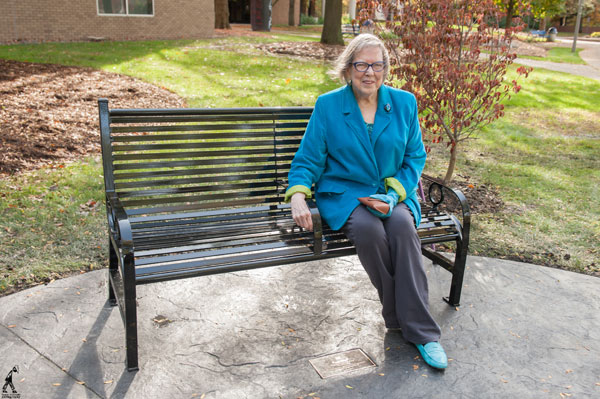 Audrey Snipes Lattie, a member of UM-Flint's first graduating class of '58, attended the dedication ceremony.