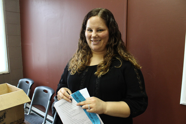 Social work student Holly Phillips helped conduct surveys at the event.