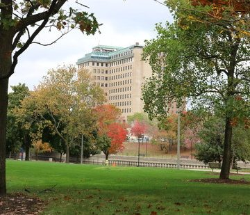 UM-Flint campus in the fall and the Northbank Center