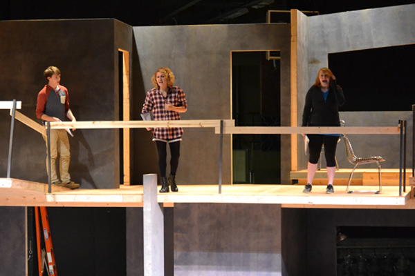 "Coleman (far right) performs during ""Next to Normal"" rehearsal."