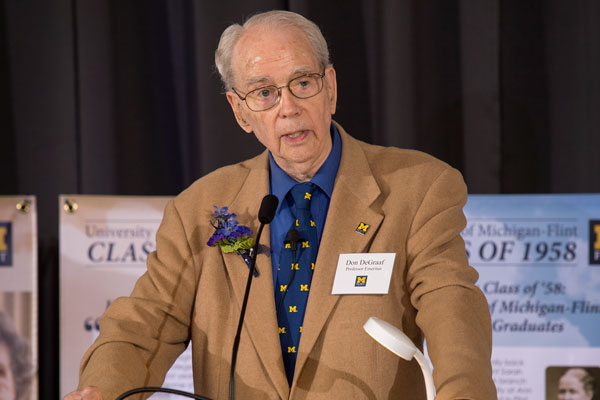Dr. Don DeGraaf, a founding faculty member in physics, was the keynote speaker.