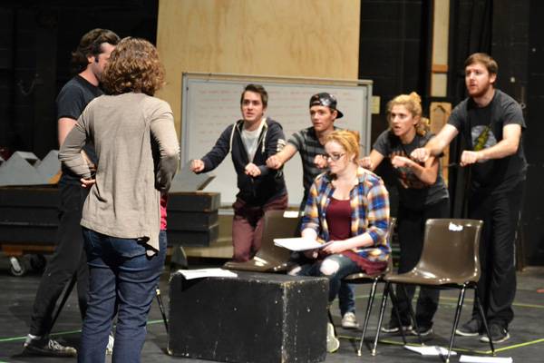 """Stephanie Dean and the """"Next to Normal"""" cast rehearse in the UM-Flint Theatre"""