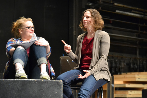 """Dean works with UM-Flint Theatre student Shelby Coleman on the set of """"Next to Normal."""""""