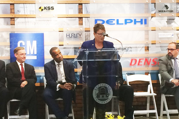 UM-Flint Chancellor Susan E. Borrego speaks at EDA grant press conference.