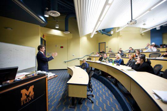 A classroom in UM-Flint's School of Management