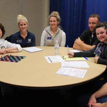 Participants in UM-Flint's interdisciplinary health care simulation