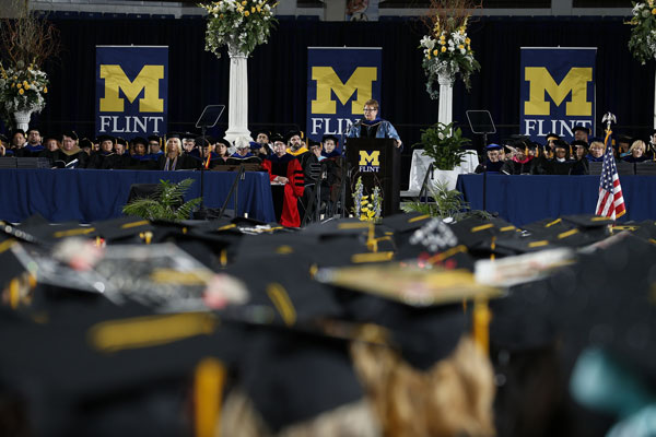 UM-Flint Chancellor Susan E. Borrego lauded the accomplishments of the graduating class as they celebrate their achievements during the university's 60th anniversary.