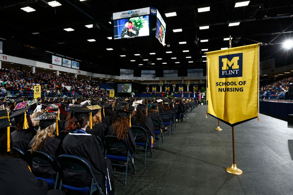 This was first commencement since UM-Flint added the School of Nursing, creating the 5th school within the university.