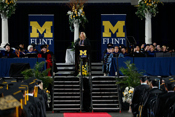 Student speaker Nickie Hewitt graduated with a bachelor's degree in nursing, earning the university's highest academic honor as a Maize and Blue Distinguished Scholar.