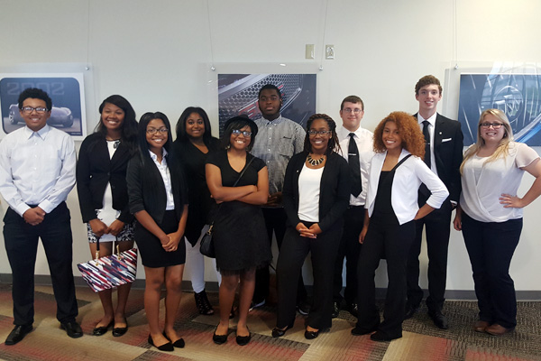 UM-Flint Communication major Skye Whitcomb (far right) and students from Flint Southwestern Classical Academy