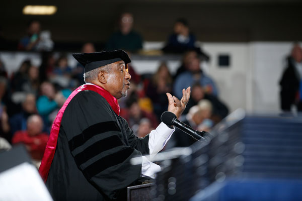 Keynote speaker Dr. Bernard LaFayette, Jr., a lifelong advocate of nonviolent social change, urged University of Michigan-Flint graduates to find their life's mission and mantra.