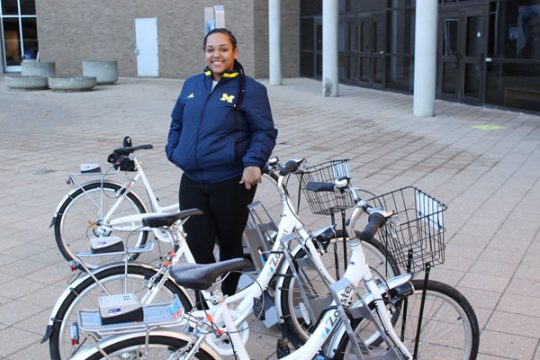 UM-Flint Zagster Bikes in front of Rec Center