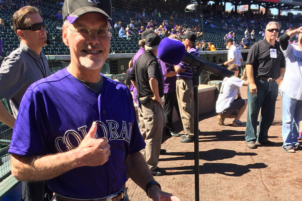 Donald Tallman preparing to sing the National Anthem for the Colorado Rockies.