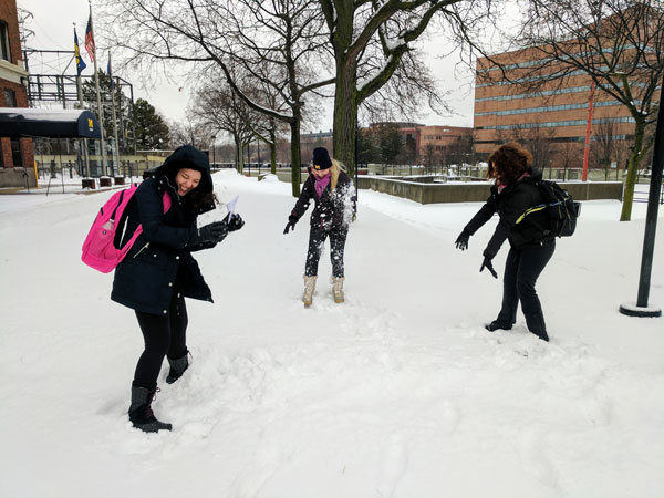 UM-Flint ELP students from Brazil experience a Michigan snow day.