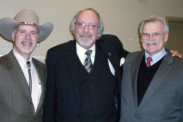 In 2013 Tallman was the keynote speaker for UM-Flint History's honors society induction ceremony. Pictured: Donald Tallman (left) with Professor Bruce Rubenstein (center) and Gregory Havrilcsak.