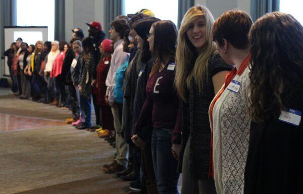 "UM-Flint seniors prepare to participate in a ""Privilege Walk"" professional development activity."