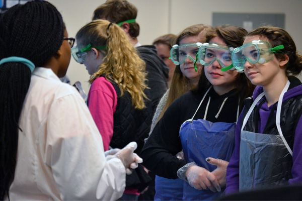 Students from Byron spend time with UM-Flint chemistry students in recently renovated labs.