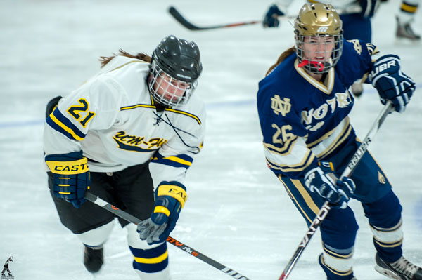 UM-Flint's Women's Hockey Team taking on Notre Dame's