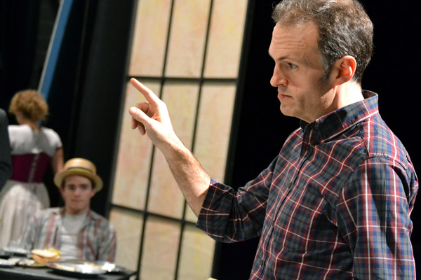 "Bill Irwin of UM-Flint Theatre directing students in ""The Importance of Being Earnest"""