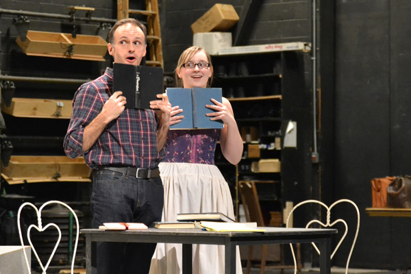 "William Irwin runs through a gag with Dominique Hinde who plays Cecily Cardew in ""The Importance of Being Earnest."""