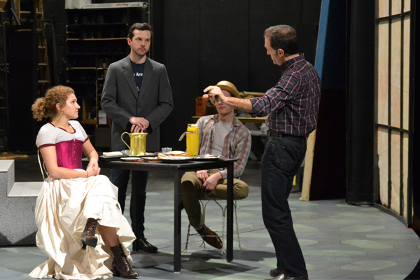 """Director William Irwin with cast members of UM-Flint Theatre's """"The Importance of Being Earnest."""""""