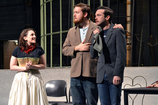 "Taylor Boes, Andy Eisengruber, and Lucas Moquin during rehearsal of ""The Importance of Being Earnest"""
