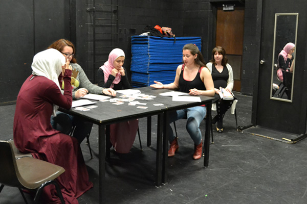 "UM-Flint students performing their one-act play exploring gender roles in ""Taming the Shrew"""