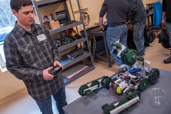 A UM-Flint engineering student in the design studio