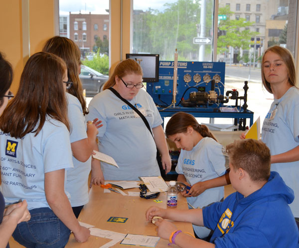 UM-Flint GEMS participants working on an engineering design activity